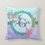 "Cute Monogram Mermaid Teal &amp; Purple Watercolor Throw Pillow<br><div class=""desc"">Cute Watercolor mermaid,  shells,  trident,  scales and starfish with Initial Monogram &amp; Name in Purple,  Aqua &amp; Teal with bubbles and Gold Glitter Accents. A fun girly mermaid design with Personalized Text.</div>"