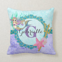 Cute Monogram Mermaid Teal & Purple Watercolor Throw Pillow