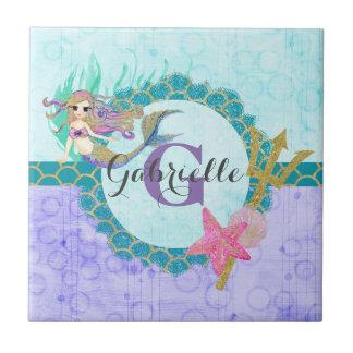 Cute Monogram Mermaid Teal & Purple Watercolor Tile