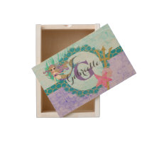 Cute Monogram Mermaid Teal & Purple Watercolor Wooden Keepsake Box