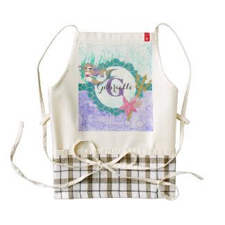 Cute Monogram Mermaid Teal & Purple Watercolor Zazzle HEART Apron