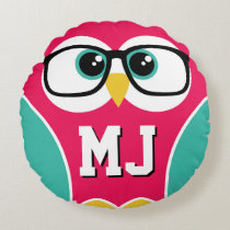 Cute Monogram Owl Wearing Glasses Round Pillow