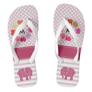 Cute monogram trendy girly elephants stripes/dots flip flops
