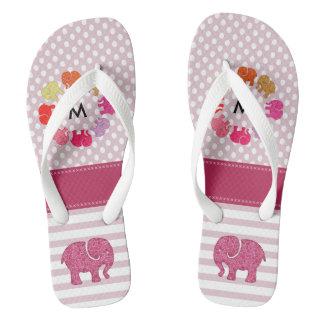 Cute monogram trendy girly elephants stripes/dots flip flops
