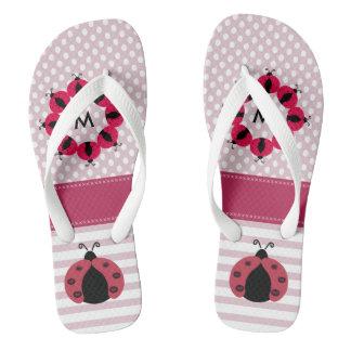 Cute monogram trendy girly ladybugs stripes/dots flip flops