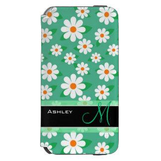 Cute Monogrammed Green Daisy Floral Flowers Incipio Watson™ iPhone 6 Wallet Case