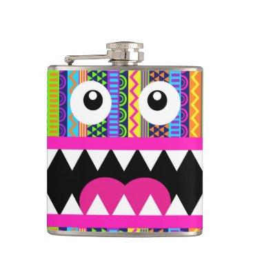 Aztec Themed Cute Monster Aztec Face Hip Flask