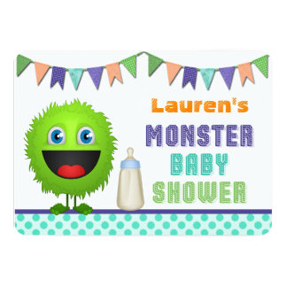 Cute Monster Baby Shower 5x7 Paper Invitation Card