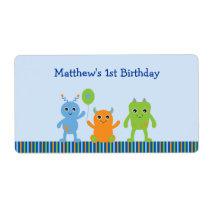 Cute Monster Baby Shower Party Favor Label