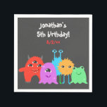 """Cute Monster Birthday Napkin<br><div class=""""desc"""">A scary adorable birthday party invitation for kids with a monster theme and a multi colored polka dotted background,  featuring cute monsters.</div>"""