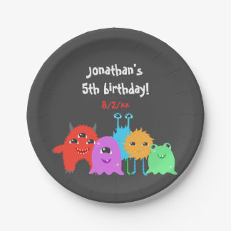 Cute Monster Birthday Paper Plate