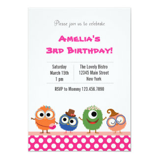 Cute Monster Birthday Party Invitation (Pink)