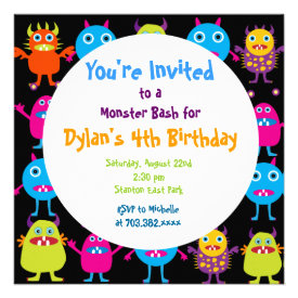 Cute Monster Birthday Party Invitation Templates