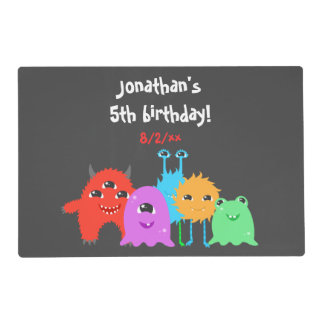 Cute Monster Birthday Placemat