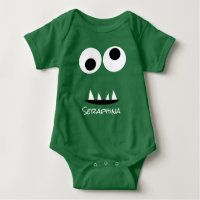 Cute Monster Face Silly Personalized Baby Green Baby Bodysuit
