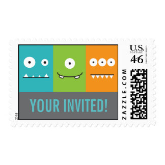 Cute Monster Faces Stamp