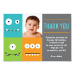 """Cute Monster Faces Thank You 3.5"""" X 5"""" Invitation Card"""