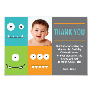 Cute Monster Faces Thank You Invitation