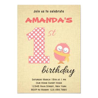 Cute Monster First Birthday Invitation