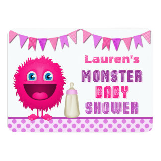 Cute Monster Girl Baby Shower 5x7 Paper Invitation Card