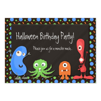 Cute Monster Halloween Birthday Party Invitations