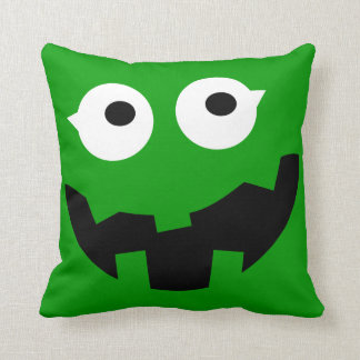 Cute Monster Kids Pillow with Monogram - Green