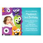 Cute Monster Photo Birthday Party Invitations