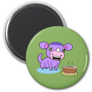 Cute monster-rhinoceros 2 inch round magnet