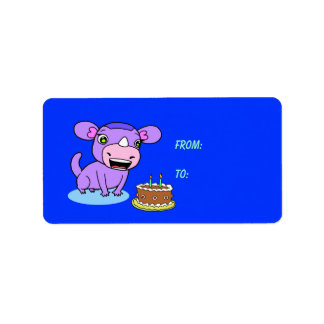 Cute monster-rhinoceros label