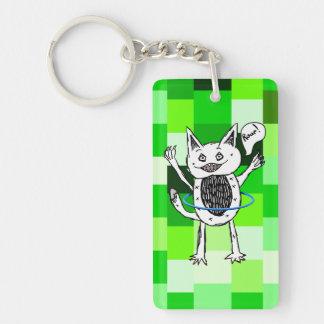 Cute Monster Roar Green Pattern Hula Hoop Keychain
