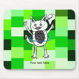 Cute Monster Roar Green Pattern Hula Hoop Mouse Pad