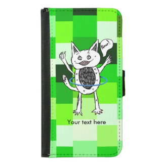 Cute Monster Roar Green Pattern Hula Hoop Wallet Phone Case For Samsung Galaxy S5