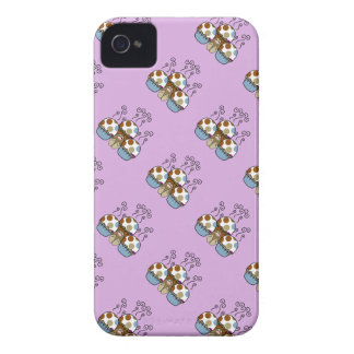 Cute Monster With Blue And Brown Polkadot Cupcakes iPhone 4 Case