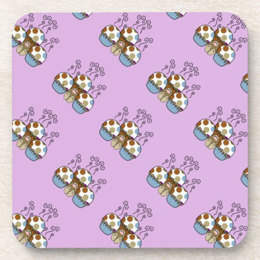 Cute Monster With Blue And Brown Polkadot Cupcakes Beverage Coaster