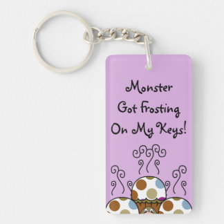 Cute Monster With Blue And Brown Polkadot Cupcakes Key Chains
