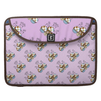 Cute Monster With Blue And Brown Polkadot Cupcakes MacBook Pro Sleeves