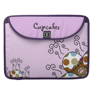 Cute Monster With Blue And Brown Polkadot Cupcakes Sleeve For MacBook Pro