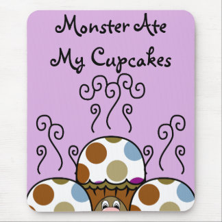 Cute Monster With Blue And Brown Polkadot Cupcakes Mouse Pad