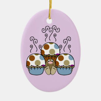 Cute Monster With Blue And Brown Polkadot Cupcakes Ornaments