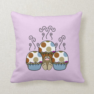 Cute Monster With Blue And Brown Polkadot Cupcakes Pillow