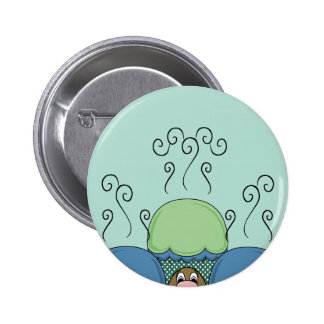 Cute Monster With Blue And Cyan Frosted Cupcakes Pinback Button