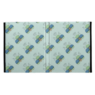 Cute Monster With Blue And Cyan Frosted Cupcakes iPad Folio Covers