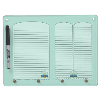 Cute Monster With Blue And Cyan Frosted Cupcakes Dry Erase Board
