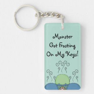 Cute Monster With Blue And Cyan Frosted Cupcakes Rectangular Acrylic Key Chains