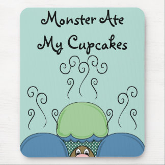 Cute Monster With Blue And Cyan Frosted Cupcakes Mouse Pad