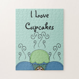 Cute Monster With Blue And Cyan Frosted Cupcakes Puzzle