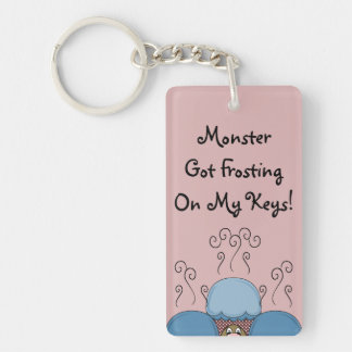 Cute Monster With Blue And Red Frosted Cupcakes Rectangular Acrylic Key Chain