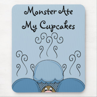 Cute Monster With Blue Frosted Cupcakes Mouse Pad