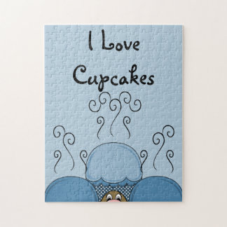 Cute Monster With Blue Frosted Cupcakes Puzzle