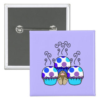 Cute Monster With Blue & Purple Polkadot Cupcakes Buttons